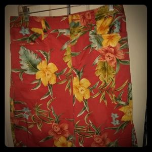 Carribean Joe Stretch Hibiscus Capris Pants 10